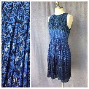 NWT Elie Tahari Demetria Blue/ Metallic Dress 6